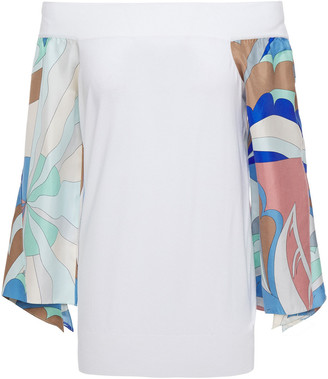 Emilio Pucci Off-the-shoulder Printed Satin Twill-paneled Stretch-knit Top