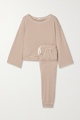 Eberjey Quincy Striped Jersey Pajama Set - Tan