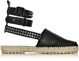 DSQUARED2 Rock & Cross Black Leather Ankle Wrap Flat Espadrilles w/Studs