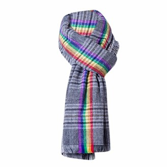 Moginp Scarf Moginp Women Winter Plaid Tassel Scarf Ladies Shawl Soft Colorful Scarves(Black)