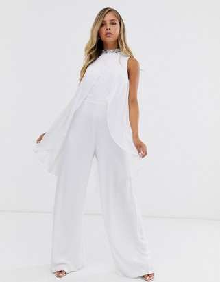 Lipsy embellished cape jumpsuit in white