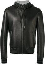 Dolce & Gabbana hooded zip jacket - men - Cotton/Lamb Skin/Polyamide/Spandex/Elastane - 50