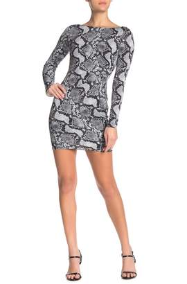 Jump Boatneck Snake Print Mini Dress
