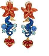 Dolce & Gabbana Seahorse and heart-drop clip on earrings