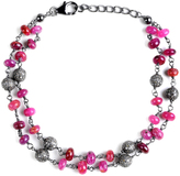 Ice 29 CT TW Ruby and Grey Diamond Black-Plated Sterling Silver Beaded Link Bracelet