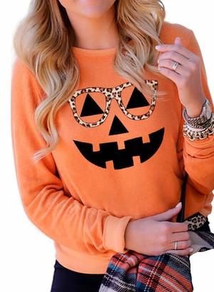 CORAFRITZ Women's Fashion Casual Long Sleeve Crewneck Pullover Halloween Pumpkin Print With Leopard Glasses Sweatshirt Ladies T Shirts Long Tops Orange