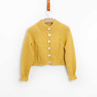 Bunti - The Carmellia Hand Knitted Wool Cardigan in Lemon - S/M | wool | yellow - Yellow/Yellow