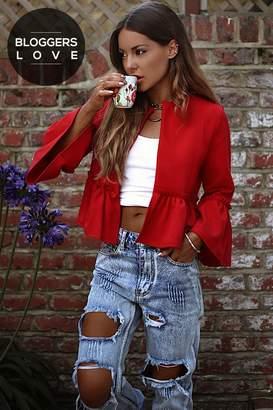 Girls On Film Outlet Red Frill Hem Jacket