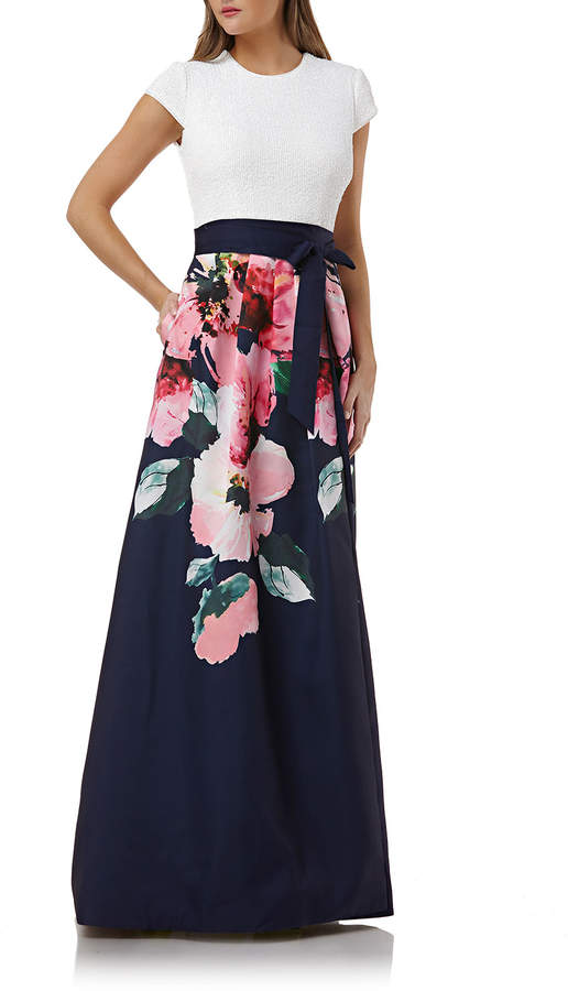 Carmen Marc Valvo Sequin-Bodice Cap-Sleeve Gown w/ Floral-Print Skirt