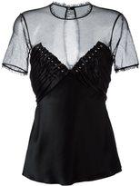 Alexander Wang sheer insert stud top - women - Cotton/Polyester/Acetate/Viscose - 4