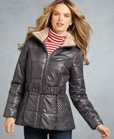 Coat, Puffer Detachable Hood Belted Faux Fur Collar