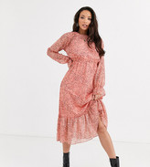 Y.A.S Tall Owa long sleeve ditsy floral midi shirt dress