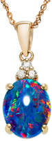 Macy's 14k Rose Gold Necklace, Opal Triplet and Diamond Accent Pendant