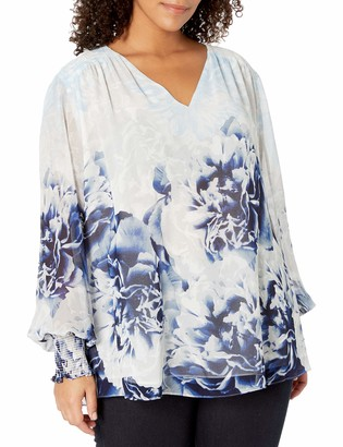 Calvin Klein Women's Plus Size Printed V-Neck Peasant Top