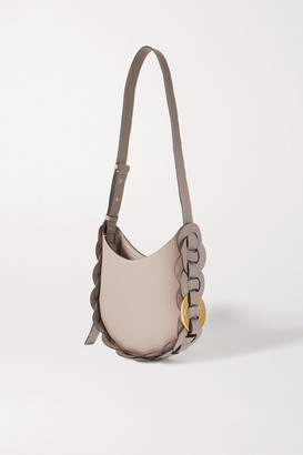 Chloé Darryl Small Braided Smooth And Textured-leather Shoulder Bag - Gray