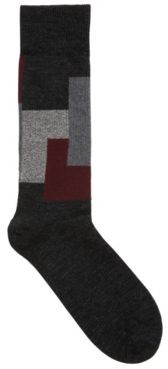 HUGO BOSS Ribbed boot socks with contrast squares in wool blend