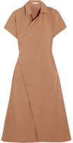 Tomas Maier Cotton-blend Poplin Wrap Dress - Camel