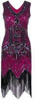 Z&X Women's Great Gastby 1920s Sequin Embellished Fringed Flapper Cocktail Dress