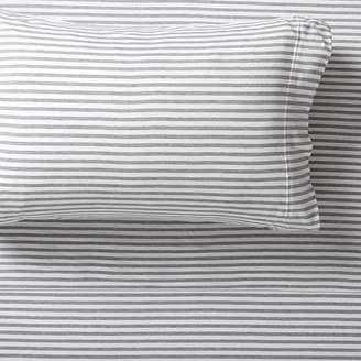 Pottery Barn Teen Favorite Tee Striped Sheet Set, Twin/Twin XL, Heathered Navy/White