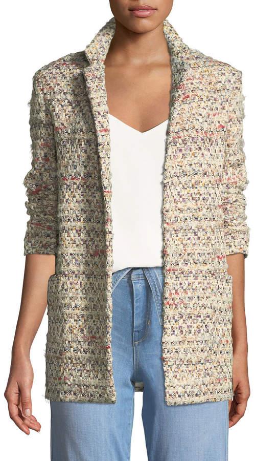 ADAM by Adam Lippes Open-Front Long-Sleeve Cotton Tweed Long Blazer