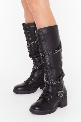 Nasty Gal Womens Party in the Chain Calf-High Boots - black - 3