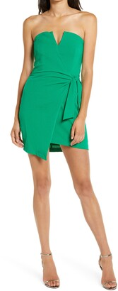 4SI3NNA the Label Raiza Strapless Asymmetrical Minidress