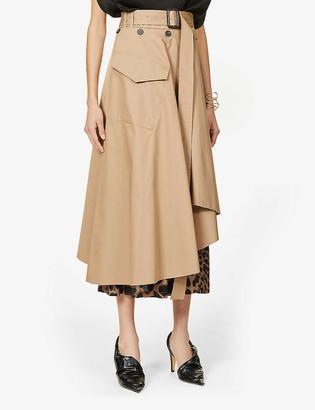 Frenken Gang leopard-print high-waist cotton-blend skirt