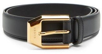 Gucci Engraved-buckle Leather Belt - Black