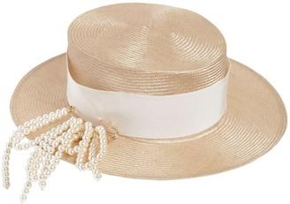 Federica Moretti Small Brim Boater Hat W/ Pin
