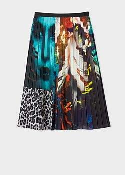 Women's 'Leopard Mix' Print Pleated Midi Skirt