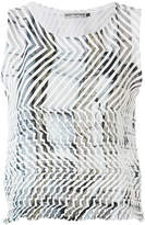 Issey Miyake contrast print sleeveless blouse