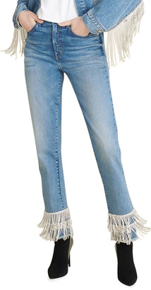 Veronica Beard Jeans Ryleigh Straight-Leg Jeans with Rhinestone Fringe