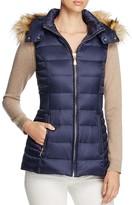 Kate Spade Faux Fur Trim Hooded Long Down Vest