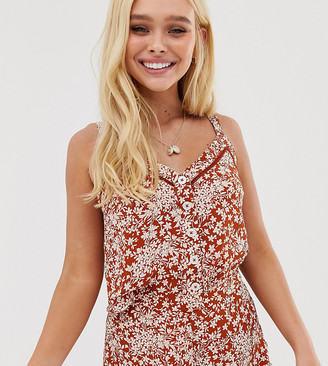 Miss Selfridge cami top with buttons in ditsy floral-Orange