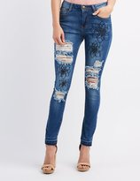 Charlotte Russe Machine Jeans Embroidered Destroyed Skinny Jeans