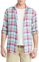 Polo Ralph Lauren Standard Fit Ocean-wash Linen Shirt, Aqua/yellow