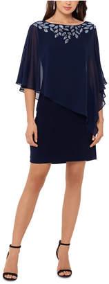 Xscape Evenings Cold-Shoulder Chiffon-Overlay Sheath Dress