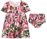 Dolce & Gabbana Pink Rose Print Cotton Dress with Briefs