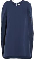 Halston Cape-effect Crepe De Chine Mini Dress - Navy