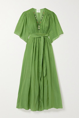 Forte Forte Gathered Embroidered Cotton And Silk-blend Voile Maxi Dress - Green