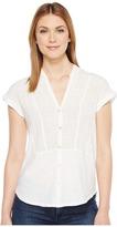 Lucky Brand Woven Gauze Mixed Top Women's Short Sleeve Button Up