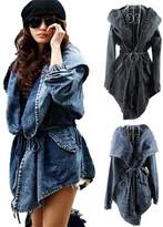 SoForYou SFY Women's Hot Denim Trench Coat Hoodie Outerwear Hooded Jeans Coat Jacket New
