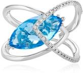 Effy Jewelry Effy Ocean Bleu 14K White Gold Blue Topaz and Diamond Ring, 5.67 TCW