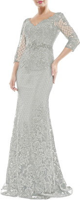 MARSONI V-Neck Lace Overlay Gown