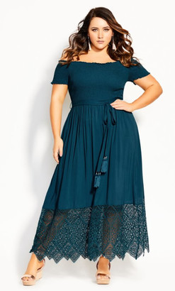 City Chic Embroidery Hem Maxi Dress - teal
