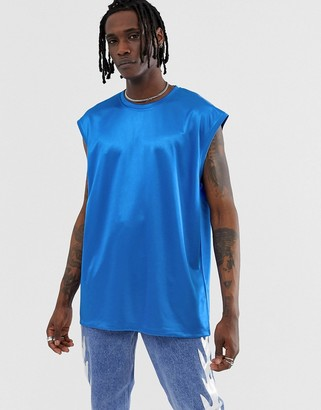 ASOS DESIGN oversized sleeveless t-shirt in high shine fabric in blue