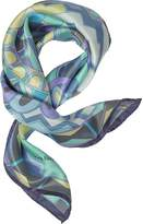 Laura Biagiotti Purple and Blue Floral & Geometric Print Satin Silk Bandana