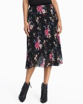 White House Black Market Floral Pleated Midi Skirt