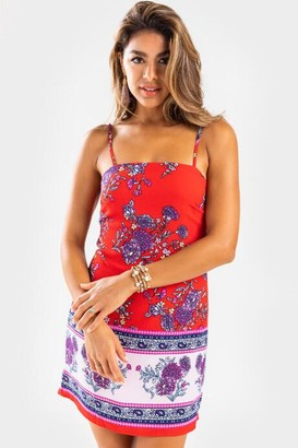 francesca's Betsy Floral Border Mini Dress - Red