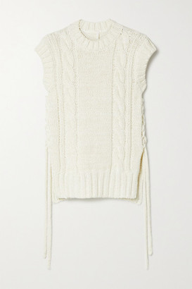 Chloé Lace-up Cable-knit Tank - White